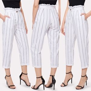 🆕Ruffle waist cuffed hem stripe pants